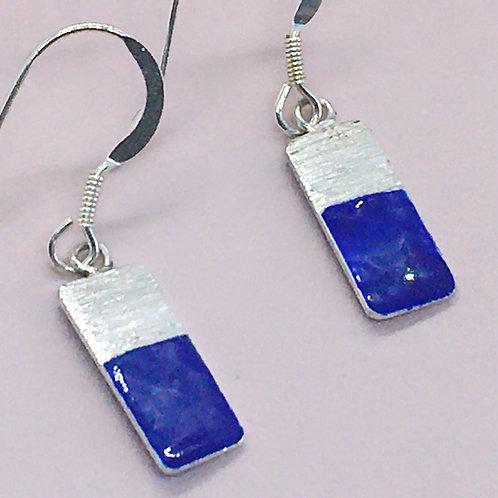 Sterling Silver Enamel Earrings - Blue