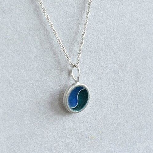 Sterling silver enamel pendant necklace