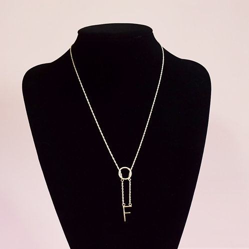 Sterling Silver Initial F Necklace - Lariat Style