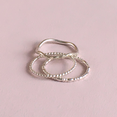 Dainty Stacking Ring Set - Textured