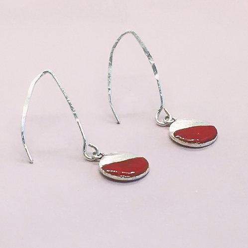 Sterling Silver Enamel Earrings - Red Circle