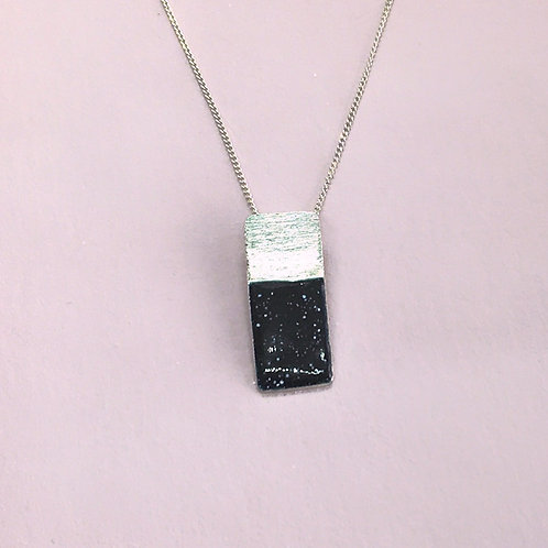 Sterling Silver Enamel Necklace -Midnight Rectangle