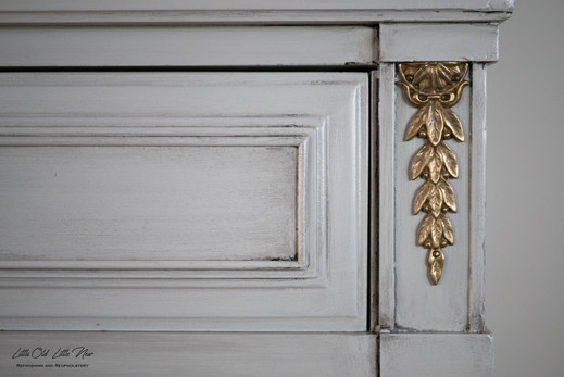 Drexel Highboy dresser gold details
