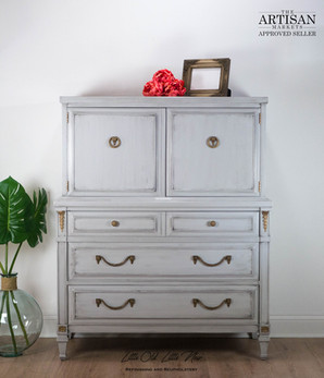 Drexel Highboy dresser in Seagull Grey by General Finishes