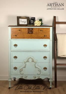 Vintage Highboy Dresser in a custom robin's egg blue.