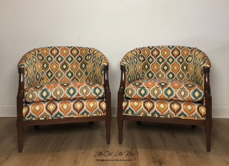 Mid Century set of chairs.  Complete teardown.  New spring foundation.