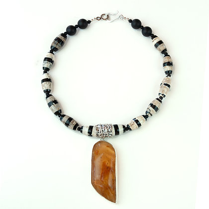 Amber and Agate Necklace