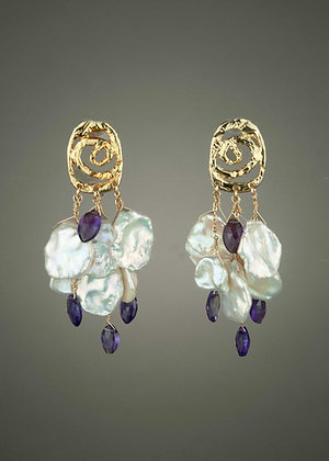 Keshi Pearl and Amethyst Earrings