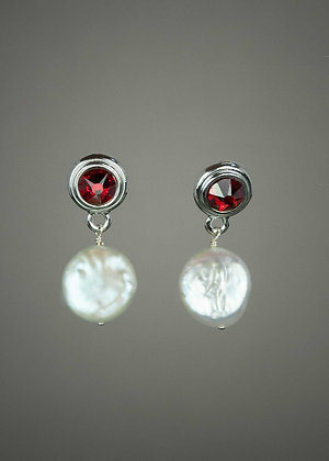 Coin Pearl and Swarovski Crystal Earrings