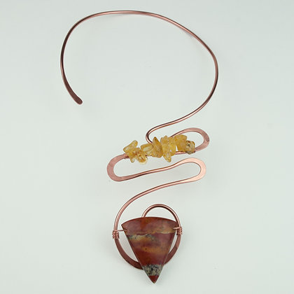 Copper Collar with Opalite and Amber