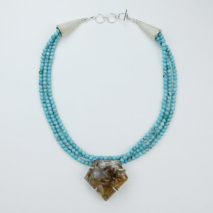 Turquoise Necklace with Rutilated Quartz