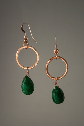 Brazilian Emerald and Copper Earrings