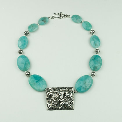 Amazonite and Mexican Silver Necklace