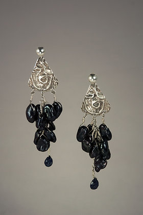 Black Pearl Cascade Earrings