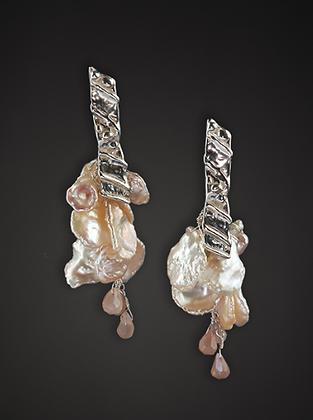 Keshi Pearls and Sterling Earrings