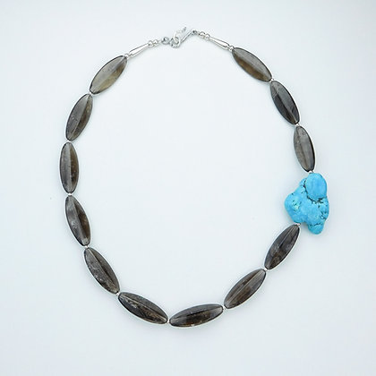 Smokey Quartz and Turquoise Necklace