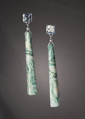 Fuchsite and Sterling Silver Earrings