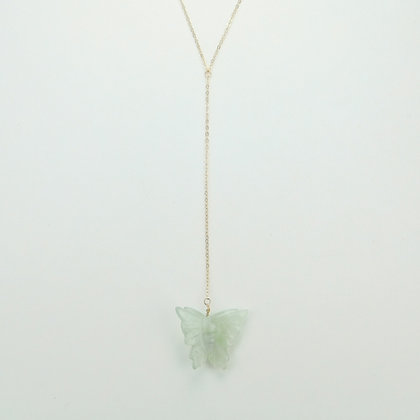 Carved Jade Butterfly Drop Necklace