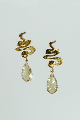 Citrine and Hand-cast Gold Vermeil Earrings