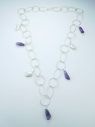 Amethyst and Pearl Chain Necklace