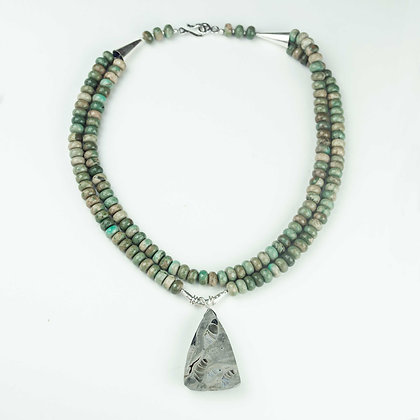 Chrysocholla and Fossil Necklace