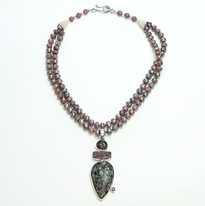 Ruby and Fossil Necklace