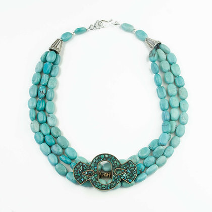 Turquoise and Vintage Brooch Necklace