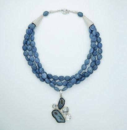 Quartz, Drusy Agate, and Blue Coral Necklace