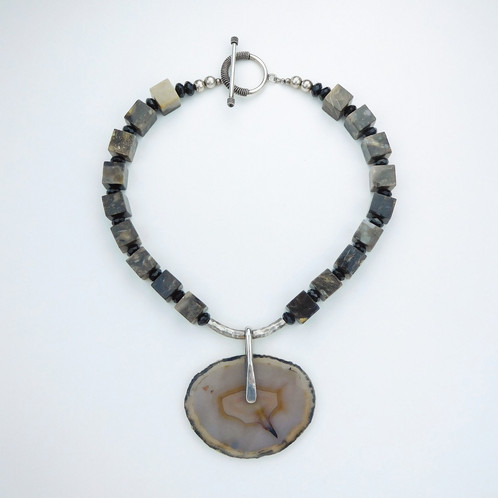 Petrified wood and agate necklace palm of hope jewelry designs natural petrified wood beads are host to a handmade pendant of a natural agate and sterling silver sterling silver toggle closure length 185 aloadofball Images