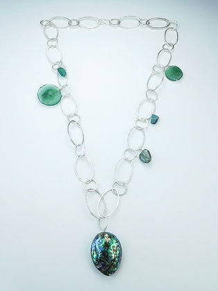 Roman Glass and Abalone Chain Necklace