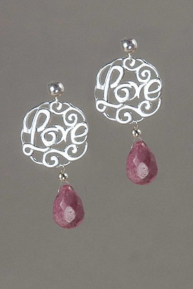 Rhodinite and Sterling Silver Earrings