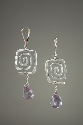 Amethyst and Handcast Sterling Silver Earrings