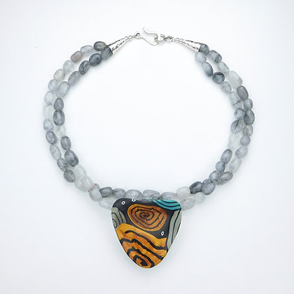 Polymer Clay and Agate Necklace