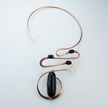 Copper Collar with Agate and Onyx