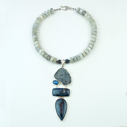 Pietersite and Moonstone Necklace
