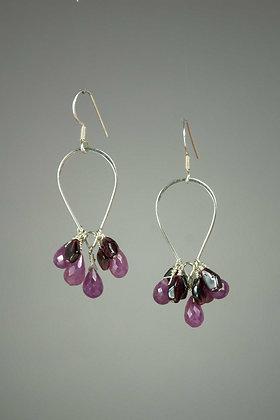 Garnet and Sapphire Earrings
