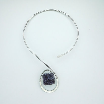 Silverplate Collar with Amethyst Drusy
