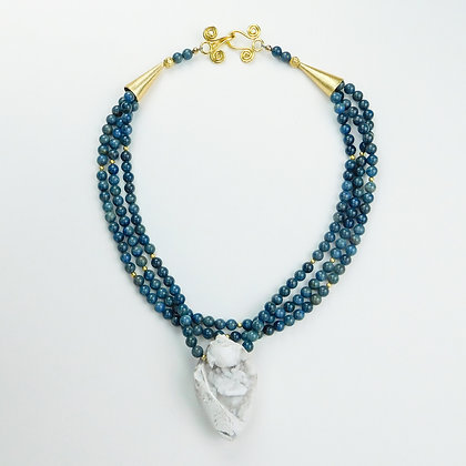 Fossil Shell and Apatite Necklace