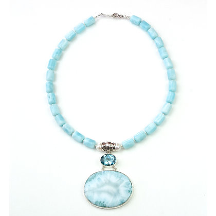 Larimar and Hemmimorphite Necklace
