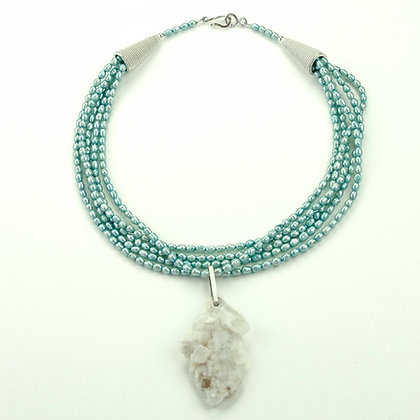 Pearl and Drusy Necklace