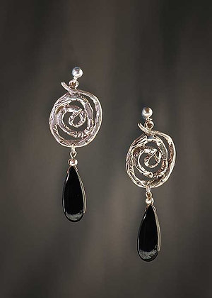 Onyx Drop and Sterling Spiral Earrings