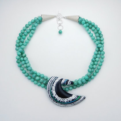 Amazonite and Polymer Clay Necklace