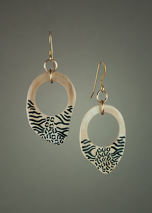 Etched Mammoth Tusk Earrings