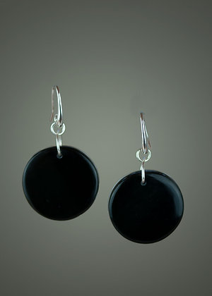Obsidian and Coconut Agate Earrings