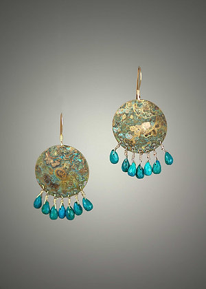 Chrysocholla and Bronze Earrings