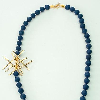 Quartz and Vintage Brooch Necklace