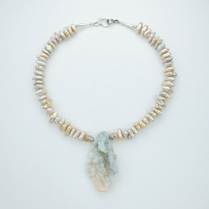 Pearl Necklace with Stibnite Pendant