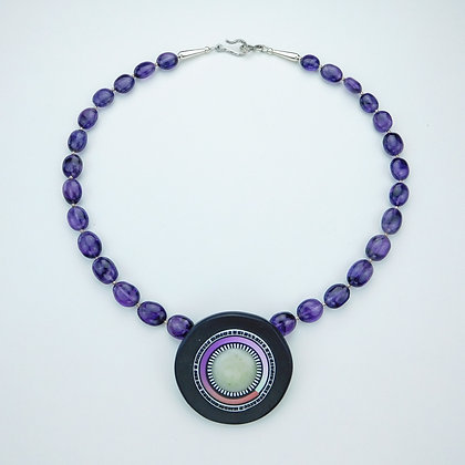Amethyst and Polymer Clay Necklace