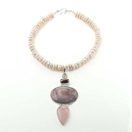 Porcelain Jasper and Pearl Necklace