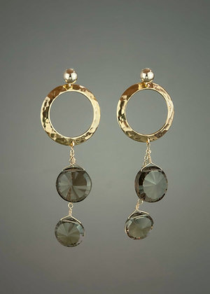 Smokey Quartz and Bronze Earrings